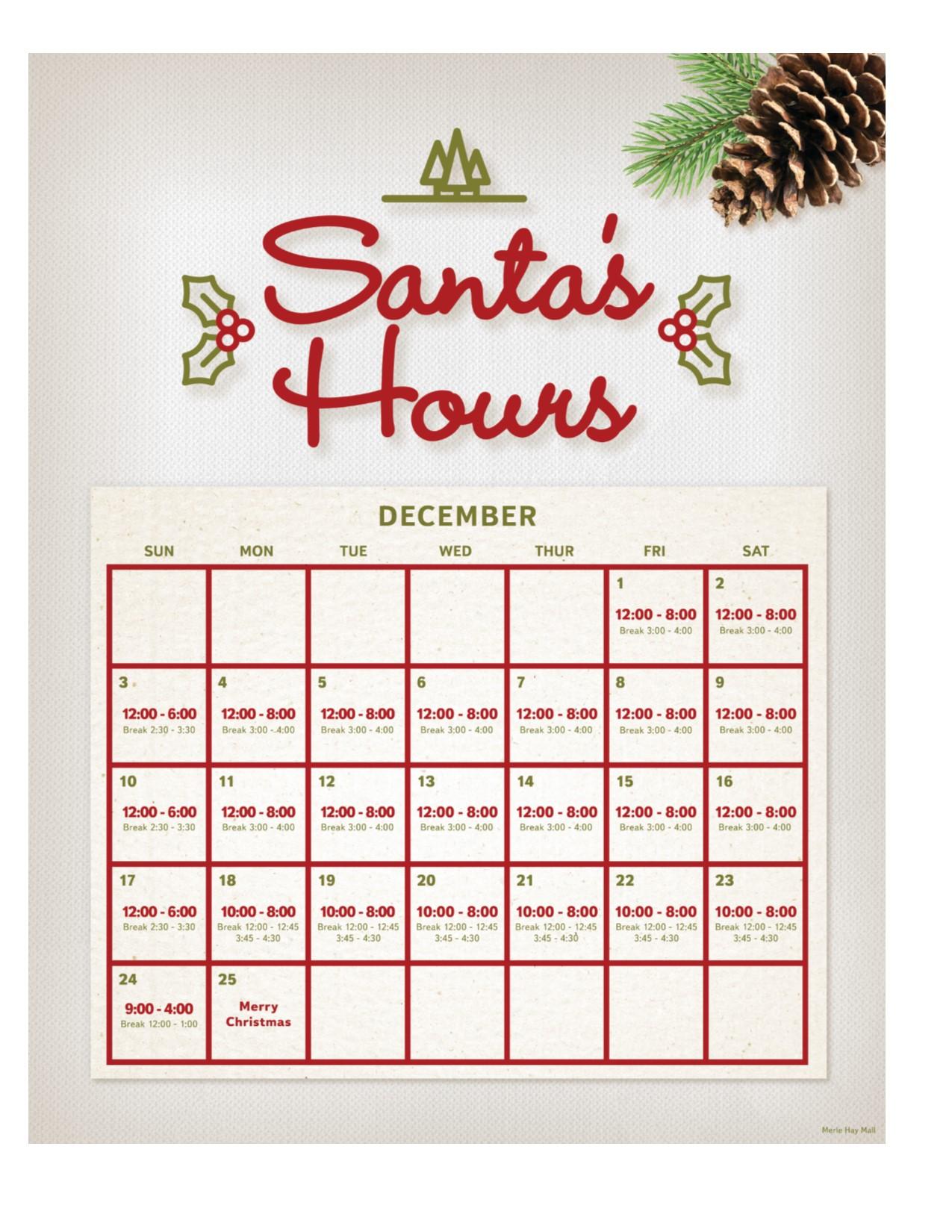 2017 Santa Photo DECEMBER Hours