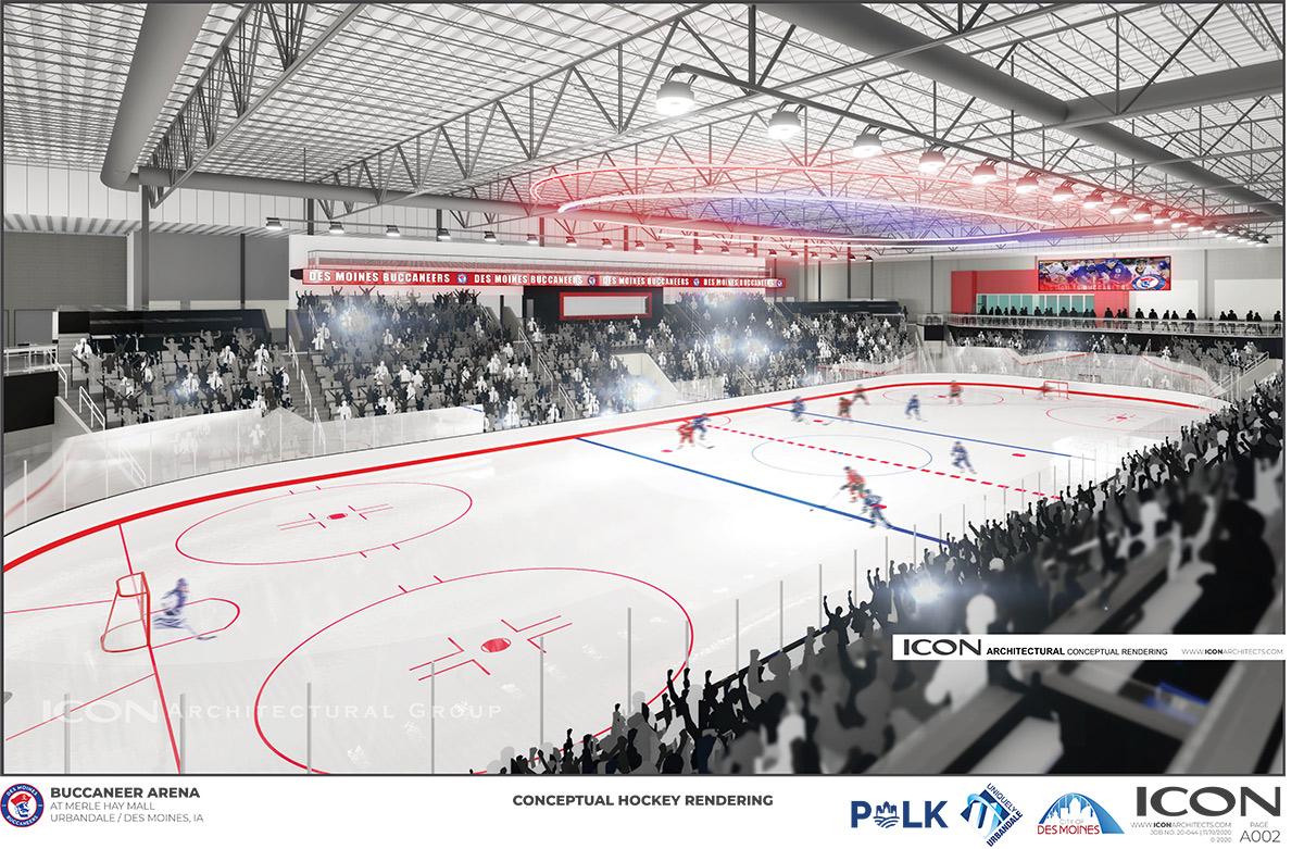 Hockey game rendering inside bucs arena