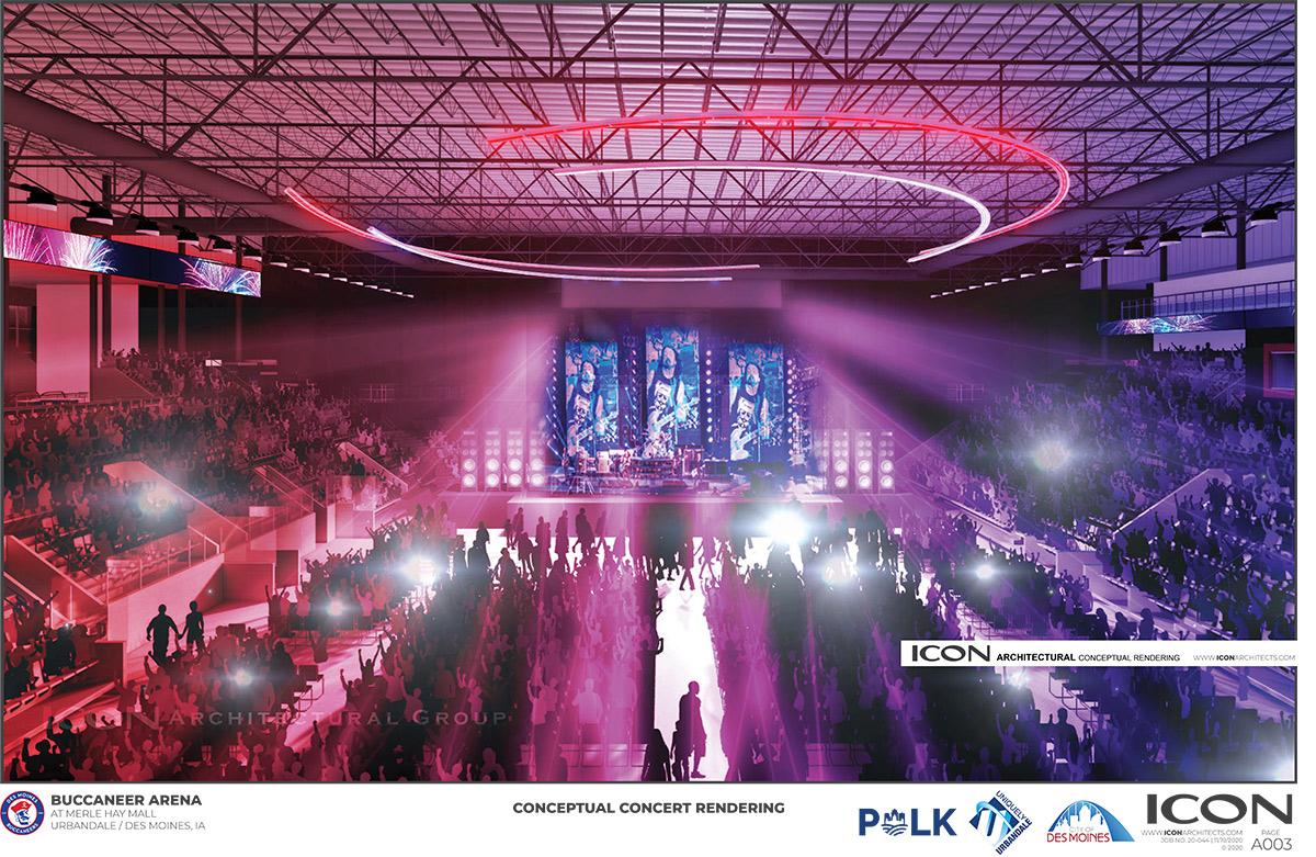 Concert rendering inside bucs arena